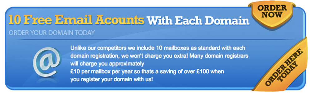 10 Free Email Accounts with Every Domain